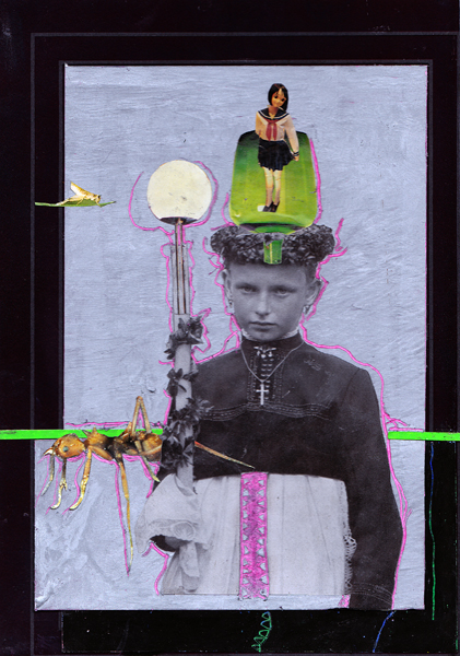 Steffen Lenk   O.T.   Oil stick and collage on paper   Paperworks