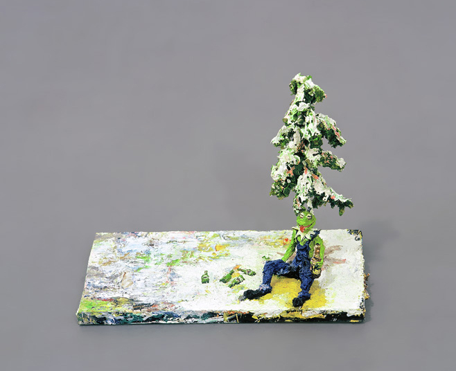 Steffen Lenk | O.T. | Oil colour on wire and glas | Paintingsculpture